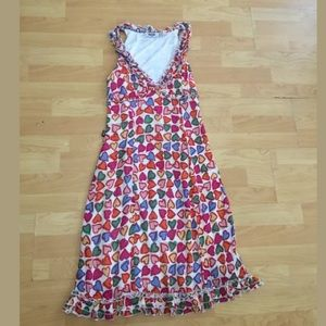 Moschino jeans white hearts dress sz 8 ruffle hem